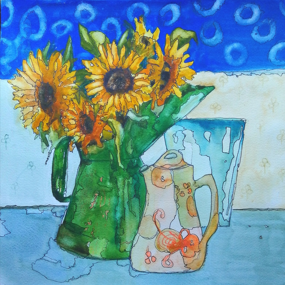 Sunflowers and Vintage Oil Can