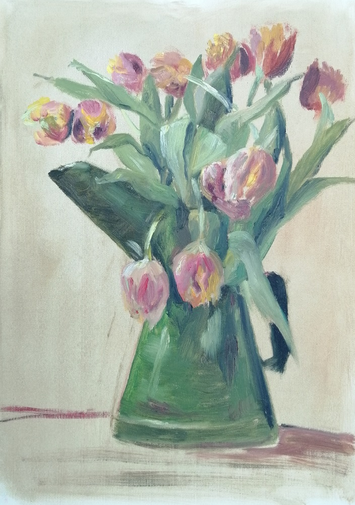 Tulips in Vintage Oil Can