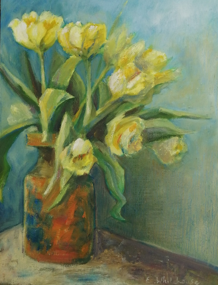 Tulips in Stone Pot